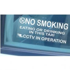 2 x Taxi Minicab Window Stickers-205mmx87mm-No Smoking,Eating,Drinking,CCTV In Operation Warning Hackney Mini Cab Sign